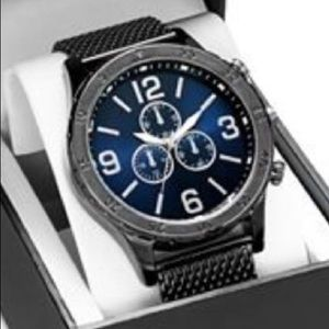 INC Men's Gunmetal Black  Mesh Bracelet Wa…